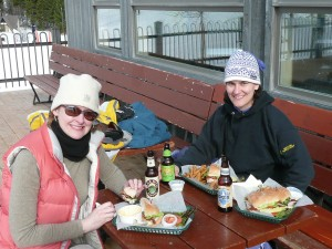 Jody & I enjoying beer outside at Bridger Bowl
