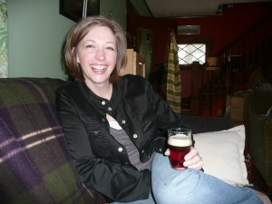 Deidre with a good beer