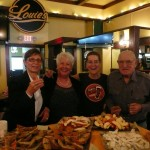 Happy enjoyers Barbara, Judy, Ginger & Frank at the WEB Ribbon Cutting & Greeters 3/15/13