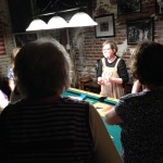 Sandi leading the quilting session last night.
