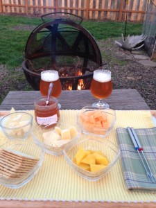 First course....complete with a cozy fire.