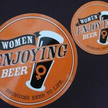 Women Enjoying Beer Stickers